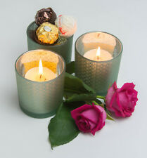 Glass Regal Heart Bonbons Votives Candle Tealight Holders - Set of three,La Vida