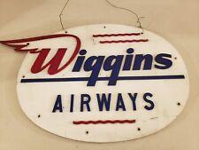 Vintage 1950's WIGGINS AIRWAYS Airplane Airport Lucite Advertising Sign RARE!!!