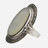 STUNNING ART DECO INSPIRED MOTHER OF PEARL MARCASITE RING 925 STERLING SILVER 7