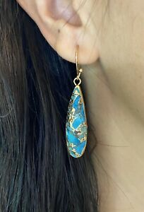 Natural turquoise gold Earrings Silver Turquoise Earrings Raw Stone Earrings