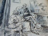 original Illustrator art--GIRL W/ PRIEST, she is taking notes
