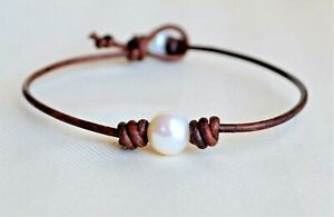 Pearl Leather Ankle Bracelet Pearl on Leather Anklet Pearl Body Jewelry Yevga