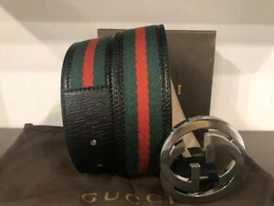 Authentic Gucci Belt Black, Red,Green GG buckle size 110 cm, fits 38/40 w-Tag