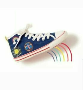 Mini Boden GIRLS CANVAS High Top TRAINERS Rainbow Lighthouse BRAND NEW