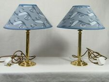 A Stunning Pair of Bedside/Table Brass Lamps with New Coolie Shades fitted, Fab