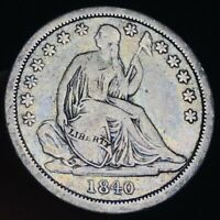 1840 Seated Liberty Dime 10c No Drapery Higher Grade Good US Silver Coin CC3822