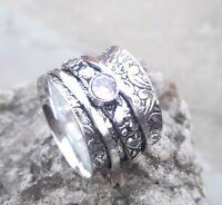 Rose Quartz Solid 925 Sterling Silver Spinner Ring Meditation Ring ee02