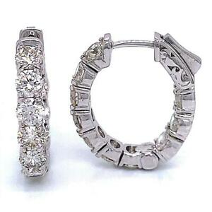 """4.50 TCW Round Diamonds 7/8"""" Oval Hoop Earrings In Solid 14k White Gold"""
