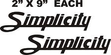 SIMPLICITY GARDEN TRACTOR  BLACK VINYL DECALS  SCRIPT