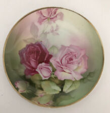Gorgeous Vintage Sevres Bavaria Hand Painted Roses Decorative Plate Signed