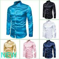 Stylish Slim Fit Dress Shirts Luxury Casual Long Sleeve Mens Blouse Top Floral