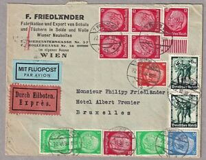 1938 Anschluss Commercial Airmail Cover Wien Austria To Brussels Express Label