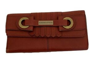 Adrienne Vittadini Soft Pebbled Leather Women's Wallet Trifold Mahogany Brown Le