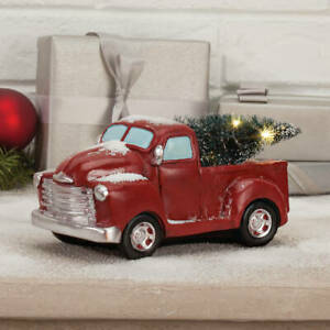 Vintage Red Pickup Truck w/ Lighted Tree Christmas Tabletop Centerpiece Statue