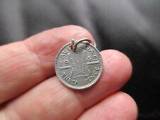 ANTIQUE VINTAGE SILVER COIN METAL 1943 AUSTRAILIA THREEPENNY TOKEN FOB CHARM OLD