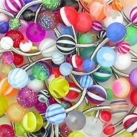 """14g 7/16"""" Mixed Acrylic Belly Button Rings - Price Per 10"""
