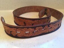 VTG JC Penney's Ranch Craft Tooled Leather Belt STRAP SZ 32 BROWN