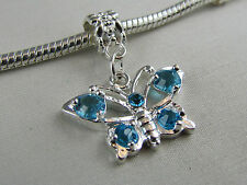 SP BLUE LARGE CRYSTAL BUTTERFLY DANGLE CHARMS EURO STYLE CHARM BRACELETS #DC 227