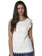 Ladies B.You Sleeveless/ Cap shoulder Layered Crochet Top White Size 12/14 BNWT