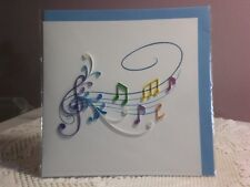 Quillin Cards - 2D Musical Staff w/Notes & Treble Clef Note Card