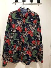 TOMMY HILFIGER Mens Navy Floral Print Long Sleeve Slim Fit Shirt Fits Size L VGC