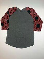 LuLaRoe Randy Gray Red Floral Pattern Tee SUPER SOFT S XL