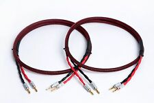 Canare 4S11 HI-FI Speaker Cable Pair, RB TechFlex Braided 2 to 2 Banana, 8 Ft