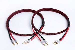 2 to 4 Banana Wlancable Pro Braided BiWire Speaker Cable 1 Pair 20 Ft.