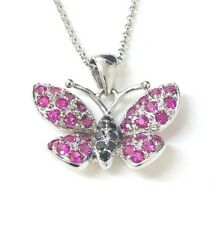 """9ct White Gold Diamond Butterfly Pendant with 16"""" Chain *BRAND  NEW"""