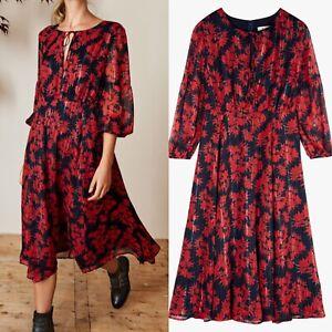 Hush Dress Fresia Stripe Luxe Black Red Floral Metallic Thread Uk 10 Flattering
