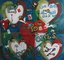 "C348   ORIGINAL MIXED MEDIA PAINTING BY LJH  ""KEY TO ONES HEART"""