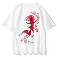 Niepce Streetwear Japanese Tshirt Short Sleeves Shirt Red Phoenix Tee