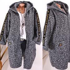 Italy Jacke Damen Mantel Boucle Wolle Oversize Kapuze Schrift 40 42 44 schwarz