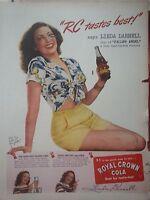 1945 Royal Crown RC Cola Soda Linda Darnell Star of Fallen Angel Movie Ad