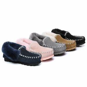 UGG Slippers Women Men Water Resistant Australian Sheepskin Wool Popo Moccasins