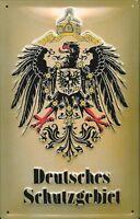 Deutsche Schutzgebiet Pancarte en Tôle Signe Métal 3d Relief Voûté Panneau Étain