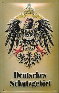 Deutsches Schutzgebiet Blechschild Schild 3D geprägt gewölbt Tin Sign 20 x 30 cm