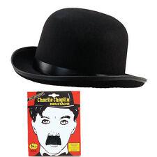 Charlie Chaplin Black Bowler Hat & Moustach Fancy Dress