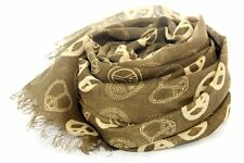 Women's Fashion Peace Sign Print Viscose Scarf Olive Scarves Wraps