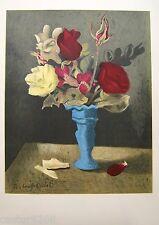 LITHOGRAPHIE MOURLOT Bouquet de roses signé OUDOT 1956 45x32,5cm