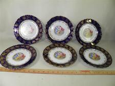 BOHEMIAN SET OF 6 FIGURAL DISHES HAND PAINTED NEOCLASSICAL MAIDENS COBALT GILDED