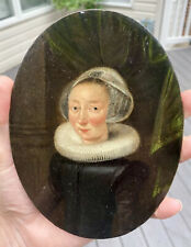 17th C. Dutch Miniature Portrait Young Woman, Inscribed & Dated, Oil on Copper