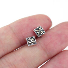 925 Sterling Silver Tiny Square Prismatic Marcasite Stud Earrings A1906