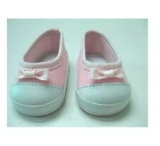 Pink Slip on Sneakers with Bow Trim Fits 18 inch American Girl Dolls