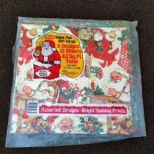 Vintage Christmas Wrapping Paper Lot Santa Bears Strawberry Shortcake