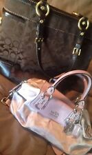 Lot Of 2 Coach Purses/bags - Lavendar Metallic And Chocolate Brown - Nice!