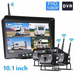 Digital Wireless Rear View DVR 10.1'' Split Monitor IR Camera Truck Motorhome