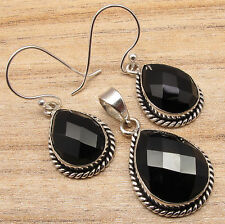 925 Silver Plated BLACK Earrings & Pendant MATCHING Jewelry SET, ONYX Gemstone