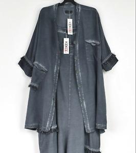 Kekoo cotton mix asymmetric denim blue dress & Jacket 2 piece set  size L/XL