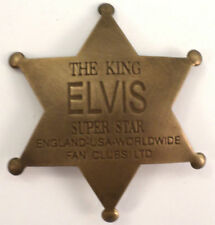 The King Elvis Superstar England Usa Fan Club Solid Brass Badge Pin #112
